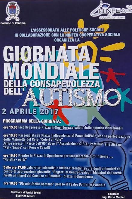 A Pontinia (LT) la Giornata Mondiale della consapevolezza dell'Autismo – 2 aprile2017