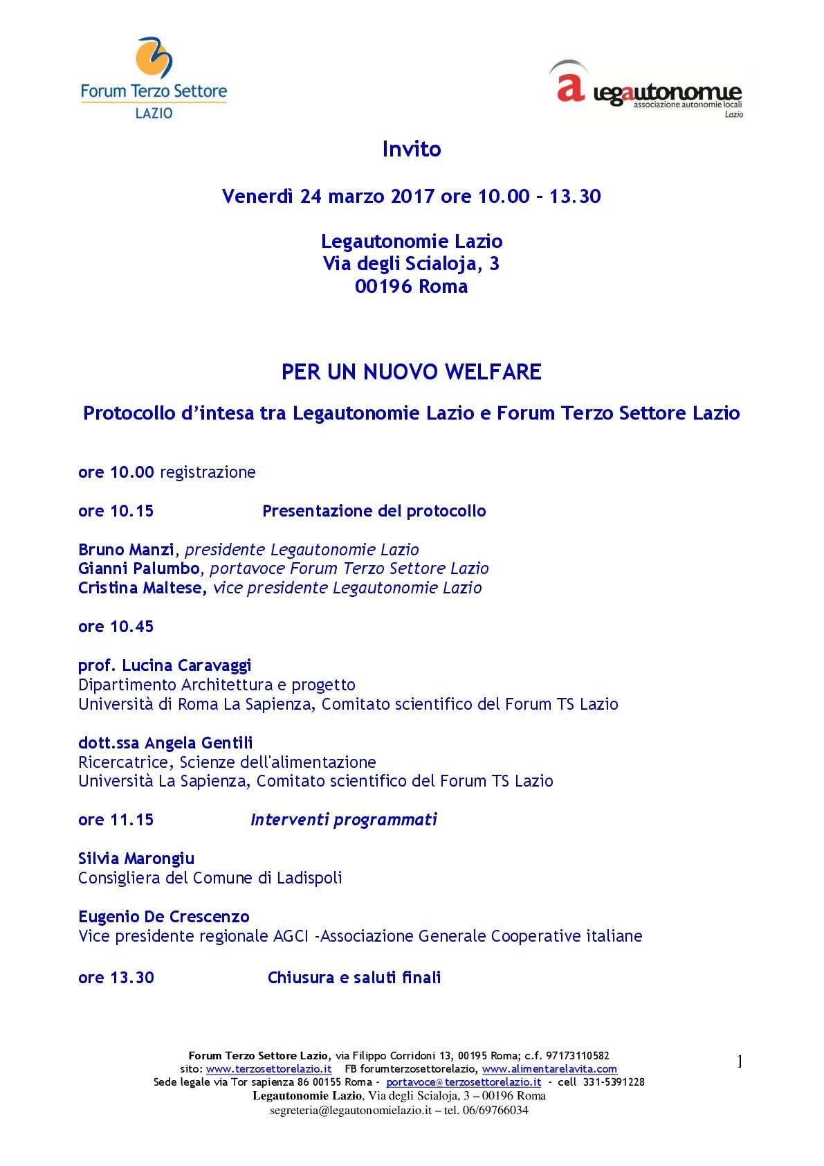 Per un nuovo welfare. Case della sussidiarietà e dei Beni comuni – presentazione del protocollo firmato da Forum TS Lazio e LegautonomieLazio
