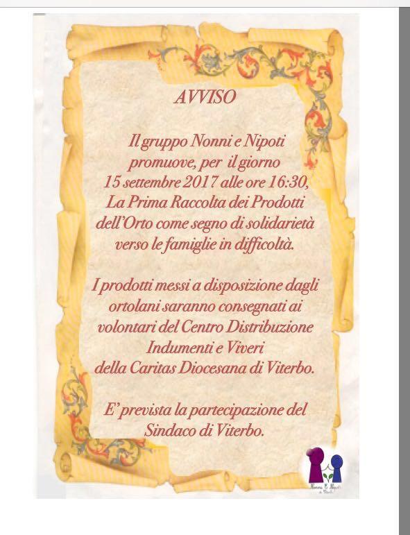 Nonni e Nipoti di Viterbo (Acli e Caritas): prima raccolta dei prodotti dell'orto per le famiglie in difficoltà – 15 settembre ore16.30