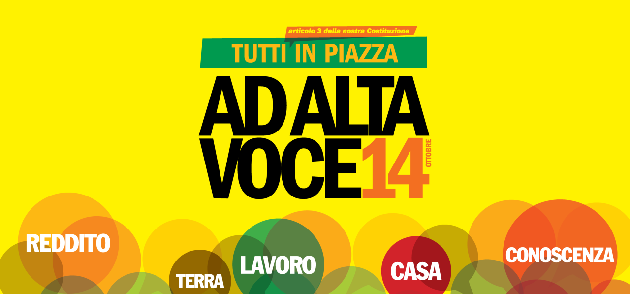 POVERTA': sabato 14 ottobre in piazza AD ALTA VOCE per dare forma e sostanza allasperanza
