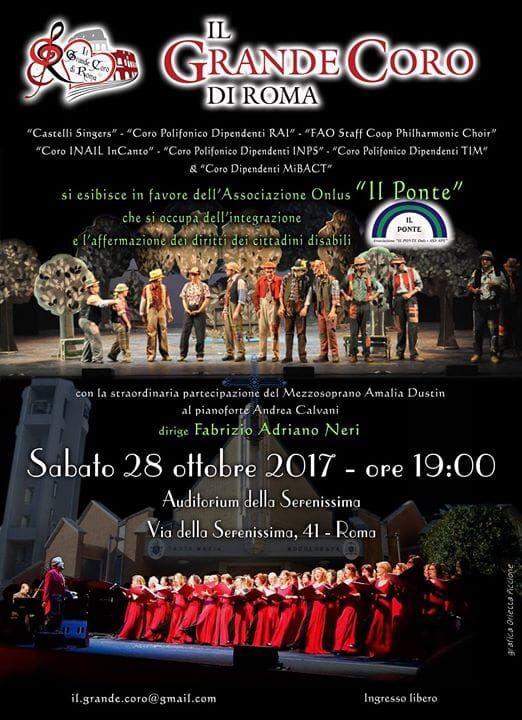 Esibizione del Grande Coro di Roma a favore dell'Associazione Il Ponte Onlus: sabato 28 ottobre2017