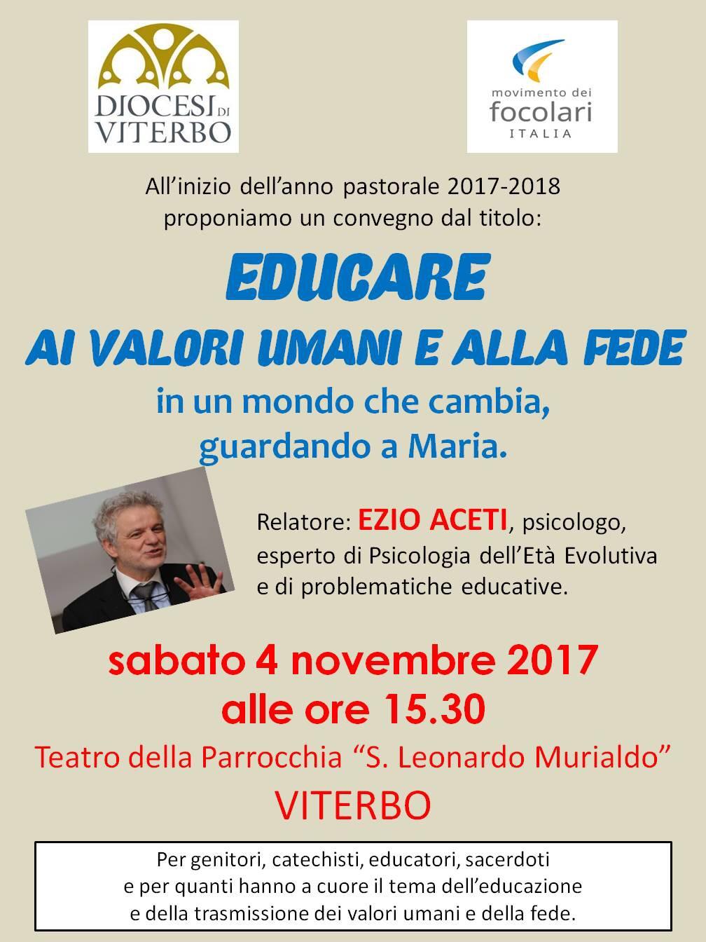 Movimento dei Focolari e Diocesi di Viterbo: Educare ai valori umani e alla Fede  – 4 novembre2017