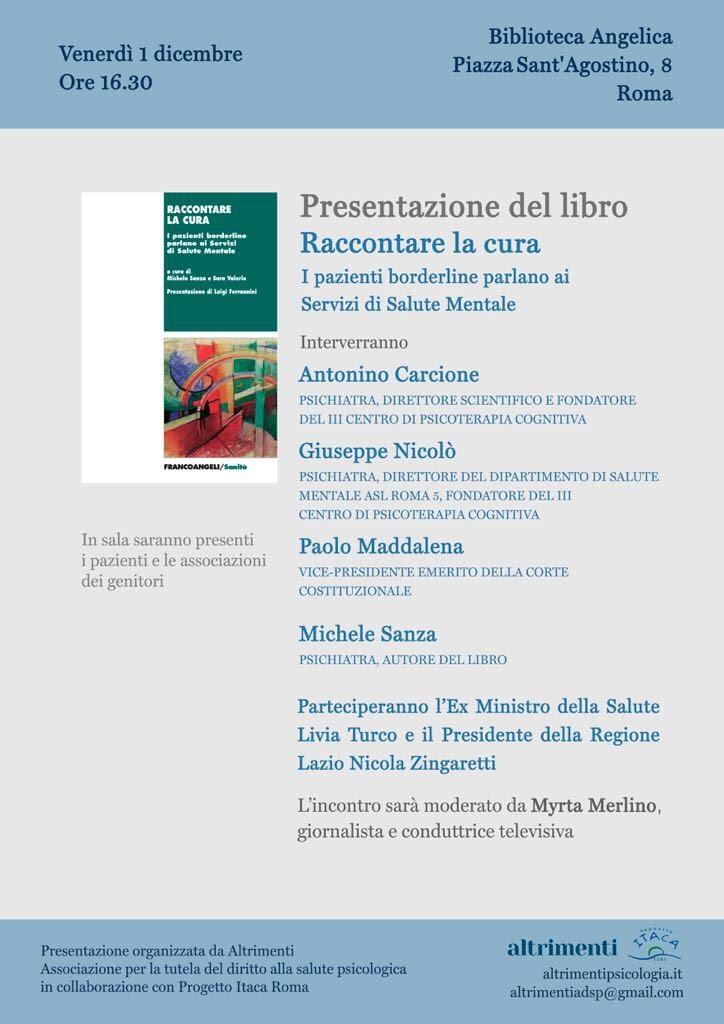 Progetto Itaca Roma: Presentazione del libro: RACCONTARE LA CURA  I pazienti borderline parlano ai Servizi di Salute Mentale – 1 dicembre ore16.30