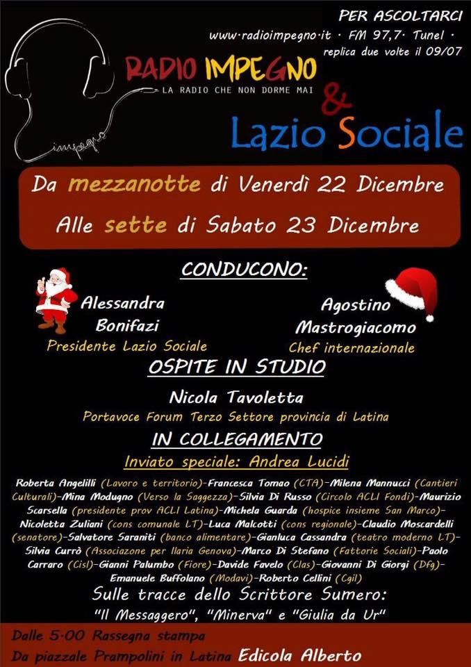 LAZIO SOCIALE a RADIO IMPEGNO con tanti ospiti, da mezzanotte del 22 dicembre fino alle ore sette di sabato 23dicembre