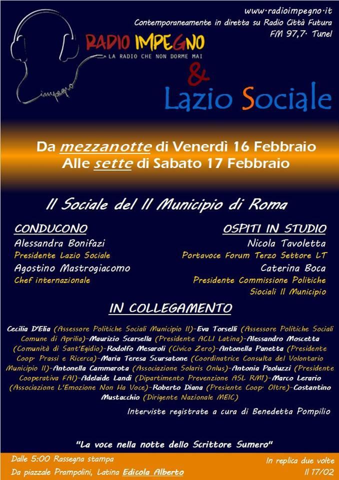 Notte misteriosa per Lazio Sociale a Radio Impegno e Radio Città Futura… i Vicini – Voce al Sociale del II Municipio di Roma e della provincia diLatina