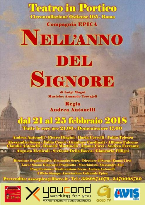 """AVIS Roma: """"Nell'anno del Signore""""dal 21 al 25 febbraio al teatro inPortico"""