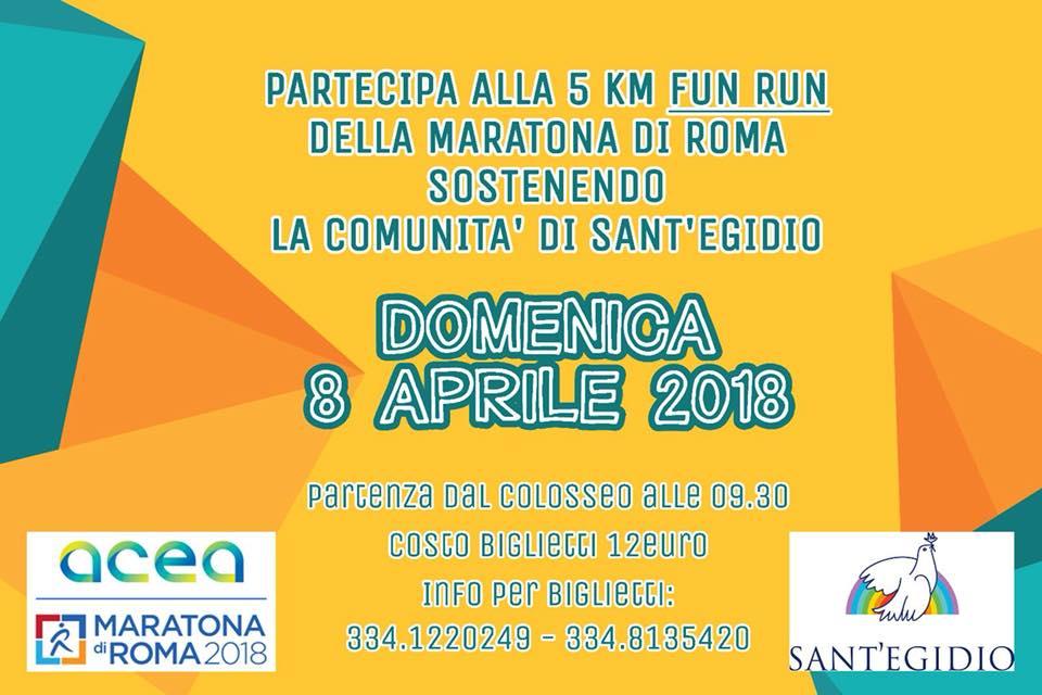 """Fun Run a sostegno del progetto """"la scuola della Pace"""" della Comunità di Sant'Egidio"""
