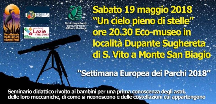 Serata astronomica Monte San Biagio 19 maggio 2018