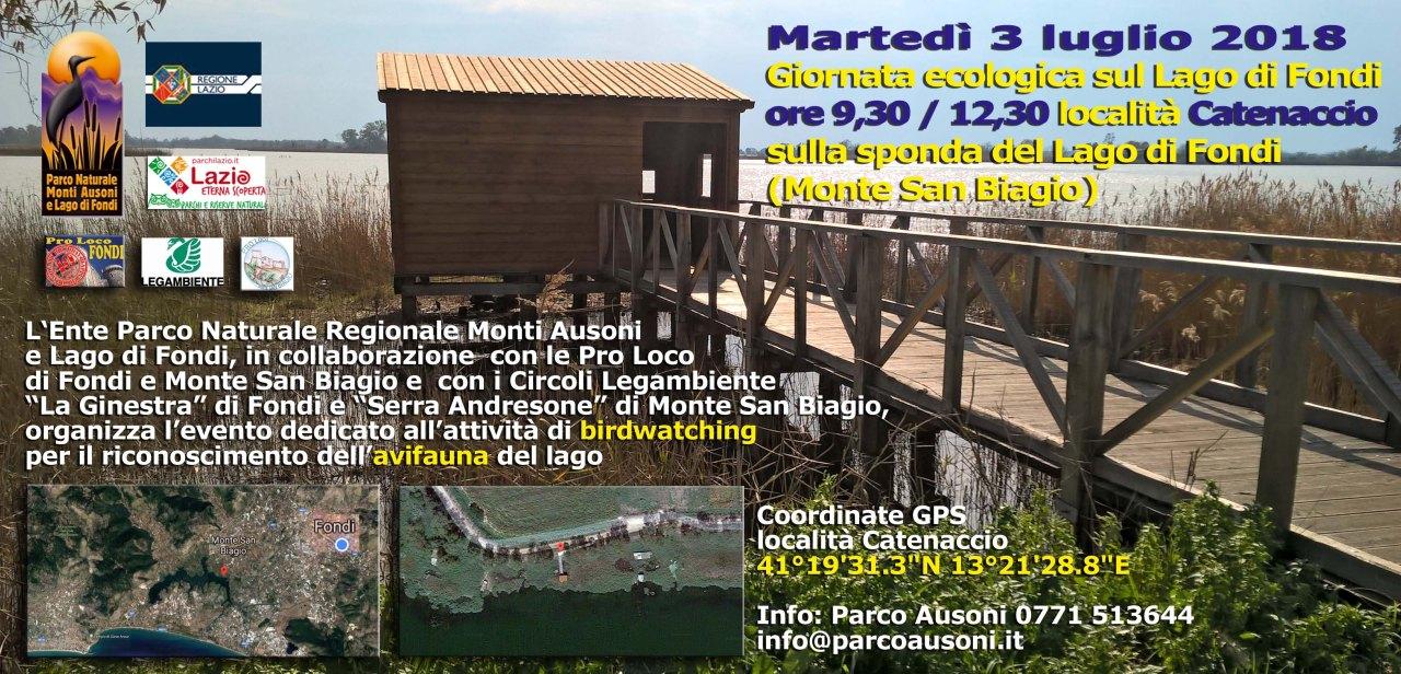 Martedì 3 luglio Birdwatching con il Parco Naturale Regionale Monti Ausoni al Lago diFondi