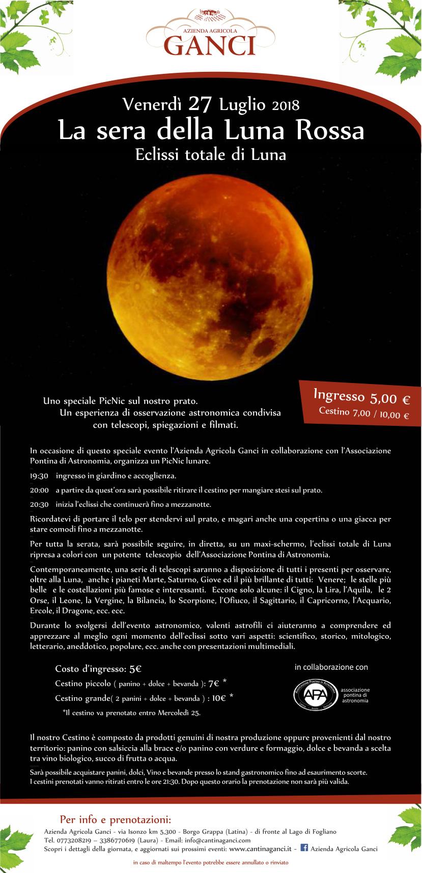 La sera della Luna rossa. Eclissi totale diluna
