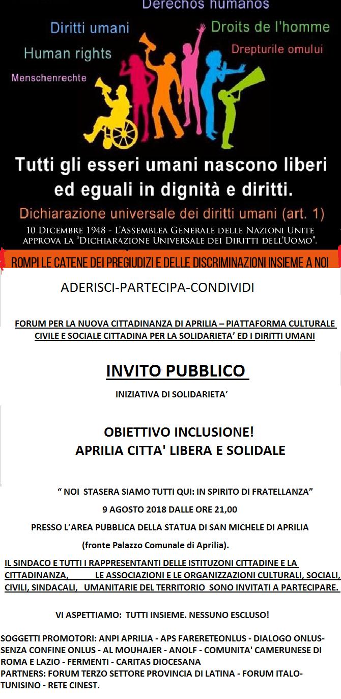 Manifesto 9 agosto 2018 _ APRILIA TUTTI INSIEME IN SPIRITO DI FRATELLANZA