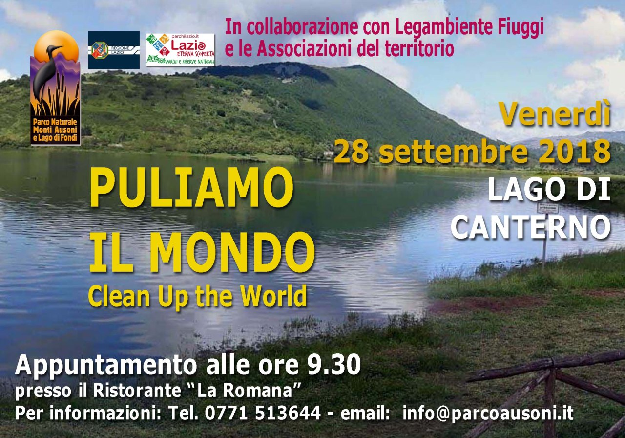 """""""Puliamo il mondo"""", il Parco Ausoni presente venerdì ai laghi di Canterno e San Giovanni Incarico(FR)"""