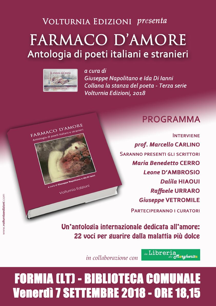 """Farmaco d'amore"", poesia internazionale a Formia(LT)"
