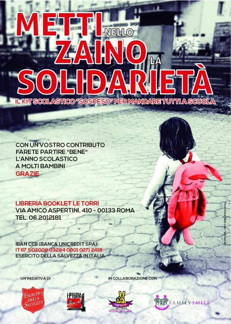 RIDOTTO 2 Kit scuola Roma - Esercito della Salvezza - Zaino in Sospeso-01 settembre 2018
