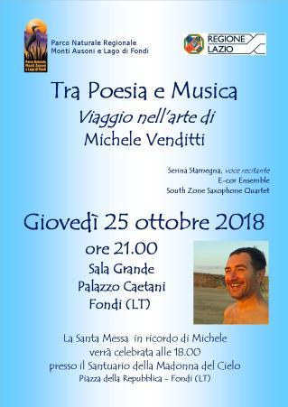 EnteParcoAusoni- Locandina - 25.10.2018 Tra Poesia e Musica viaggio nell'arte di Michele Venditti
