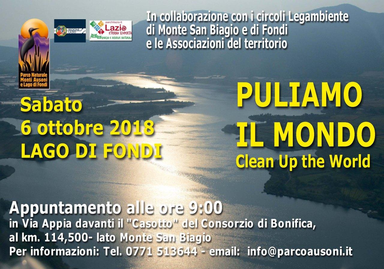 EnteParcoAusoni- Puliamo il Mondo 2018 - sabato 6 ottobre Lago di Fondi -Banner