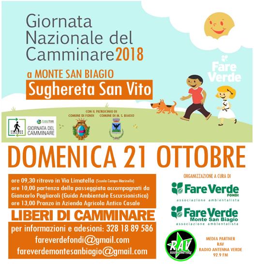 """""""Giornata del Camminare 2018"""" – Domenica 21 Ottobre nella Sughereta a Monte San Biagio con """"FareVerde"""""""