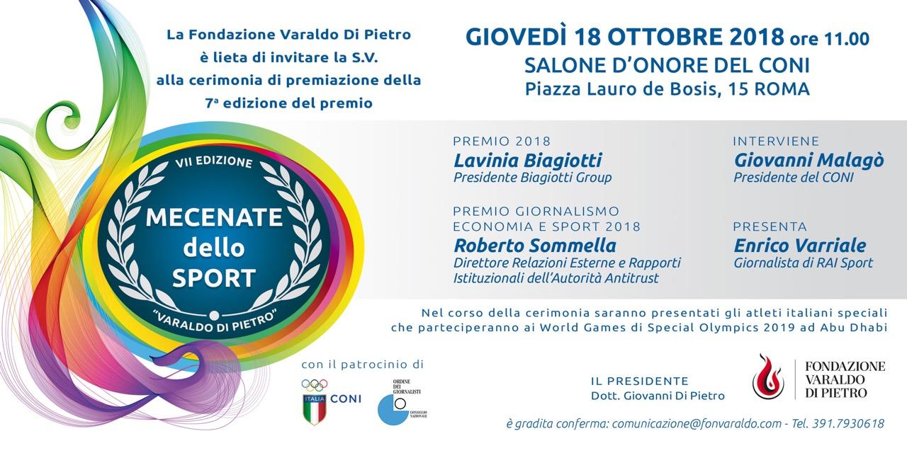 """Premio """"Mecenate dello Sport"""" presenti anche il nuotatore Rosolino e gli atleti di SpecialOlympics"""