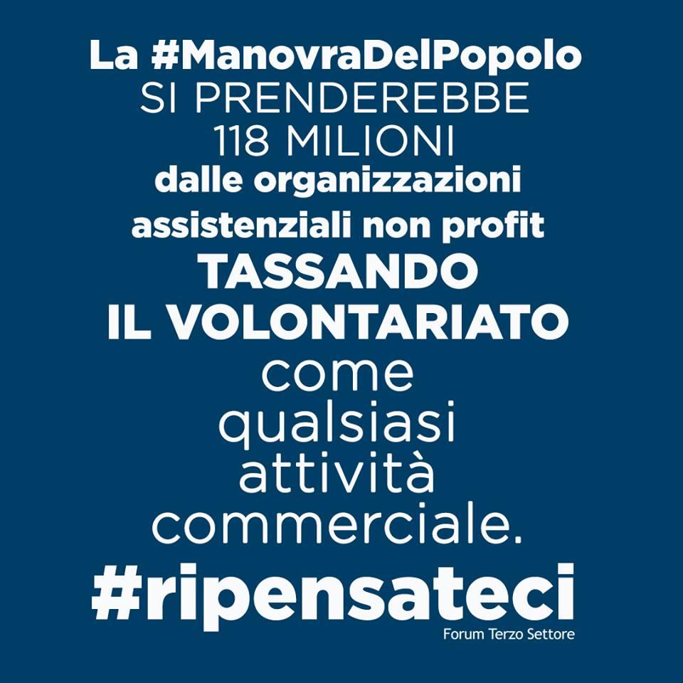 La manovra di Salvini e Di Maio tassa ilvolontariato