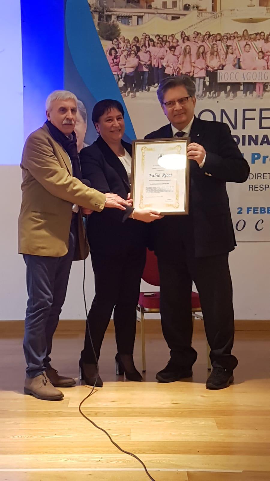 Cittadinanza Onoraria del Comune di Roccagorga al dott. Fabio Ricci, direttore della Brest Unit dell'ospedale S. Maria Goretti diLatina