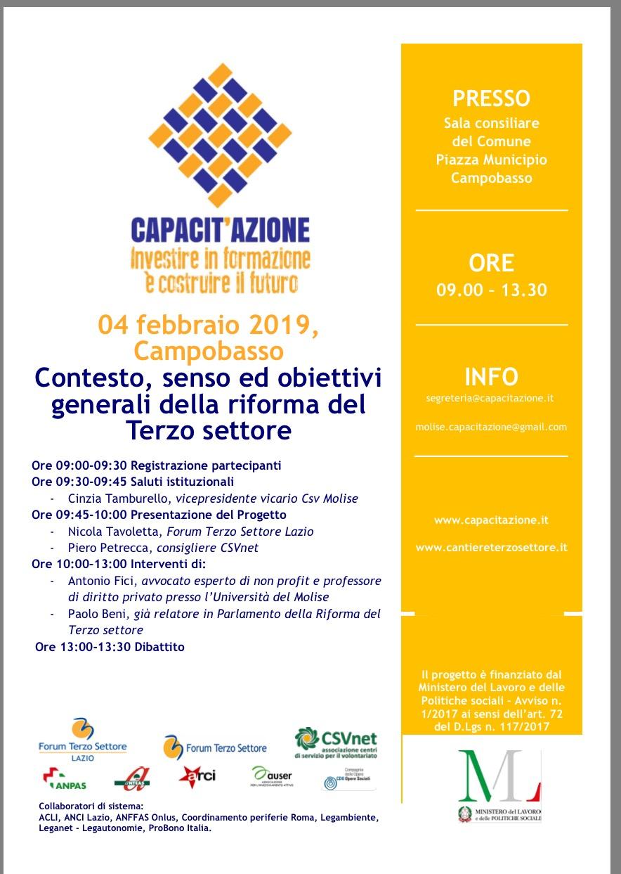 A Campobasso convegno sulla riforma del Terzo Settore, per il Lazio NicolaTavoletta