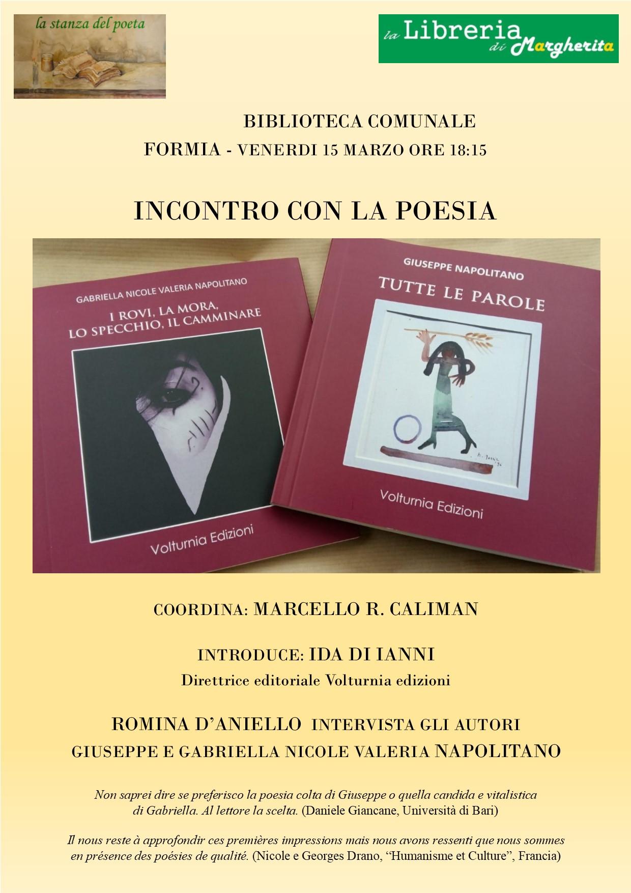 Presentazione libri di poesia dei Napolitano Venerdi 15 marzo ore18:15