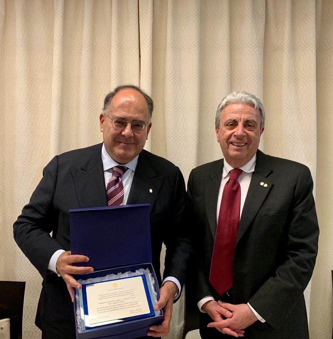 """Il Prof. Gaudio, Rettore dell'Università """"Sapienza, al Rotary Club Latina.Superati i 4.000 gli iscritti al Polo Universitario diLatina."""