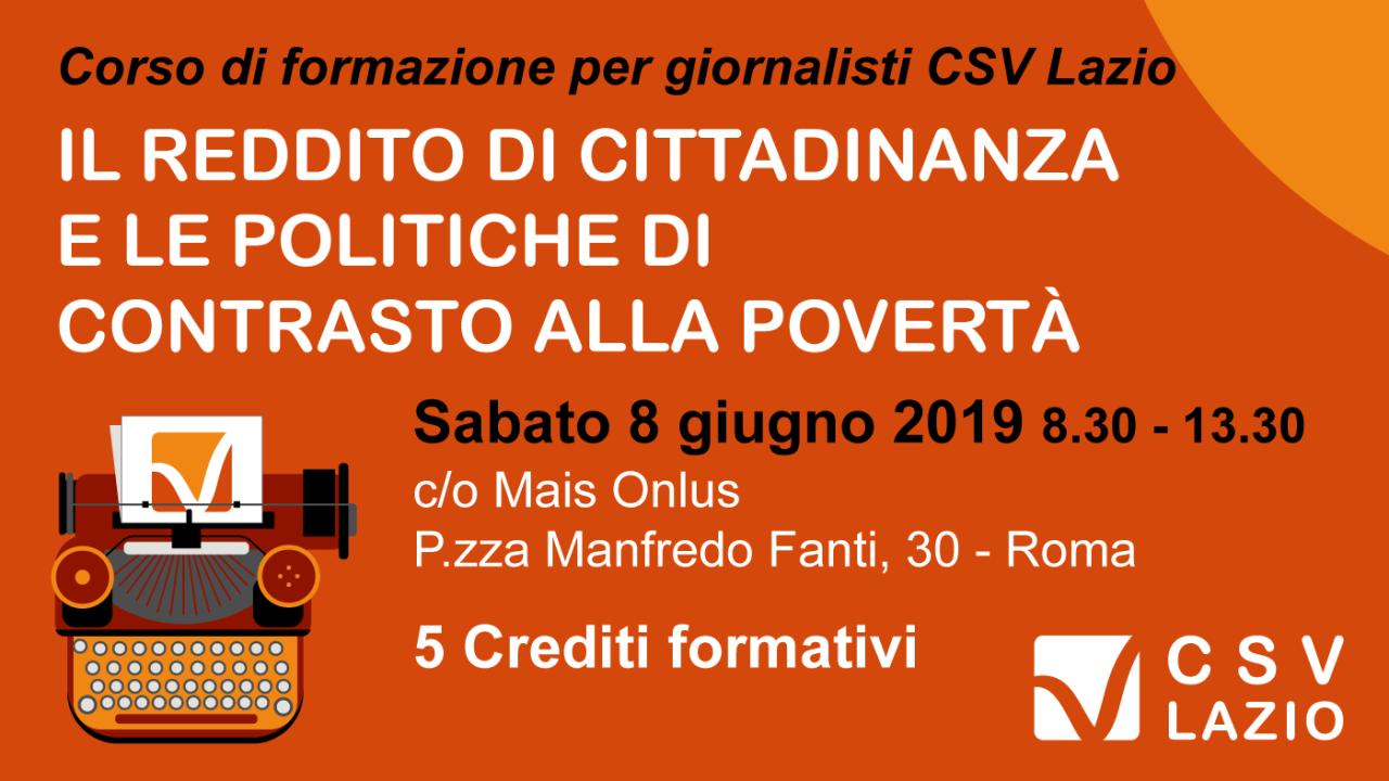 """Corso per giornalisti sul """"Il reddito di Cittadinanza e le politiche di contrasto allapovertà"""""""