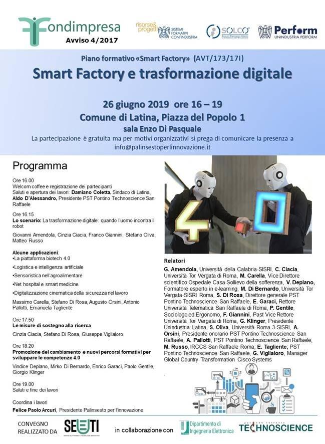"""Mercoledì 26 giugno ore 16.00 Sala Enzo De Pasquale Palazzo Comunale Latina. """"Smart Factory e trasformazione digitale"""" il convegno. La quarta rivoluzione industriale, si formano fruitori imprenditori e manager4.0"""