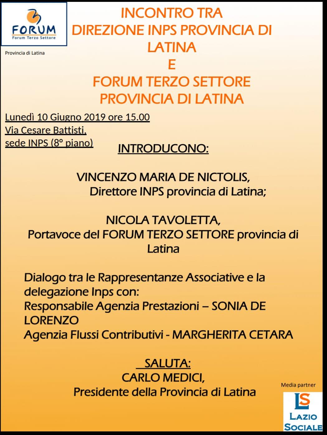 Incontro Dir. INPS Prov. di Latina e forum terzosettore