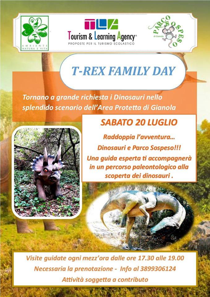 Ultimo appuntamento con il T-rex Family Day a Gianola Sabato 20 luglio dalle 17.30 alle19