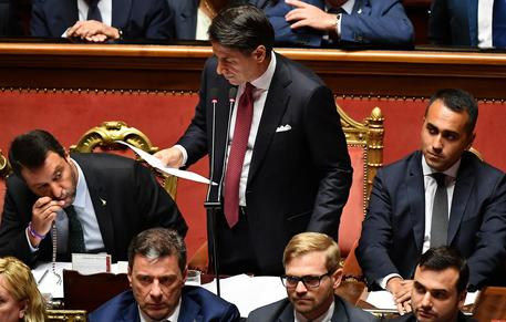 Premier Giuseppe Conte addresses to the Senate