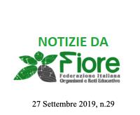 Notizie da Fiore, Federazione Italiana Organismi e reti Educative – 27 settembre2019