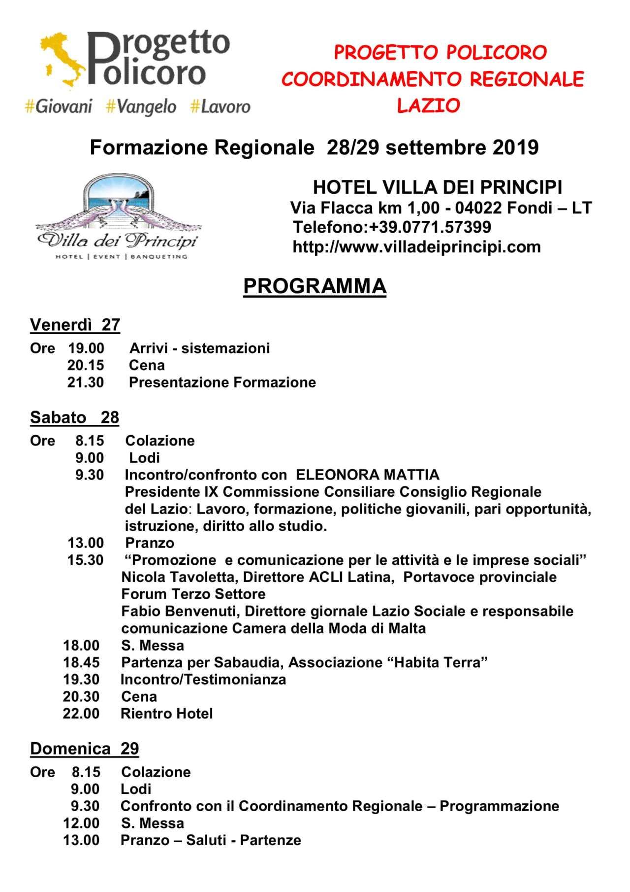 PROGRAMMA Formazione Regionale 28 e 29 settembre 2019-1