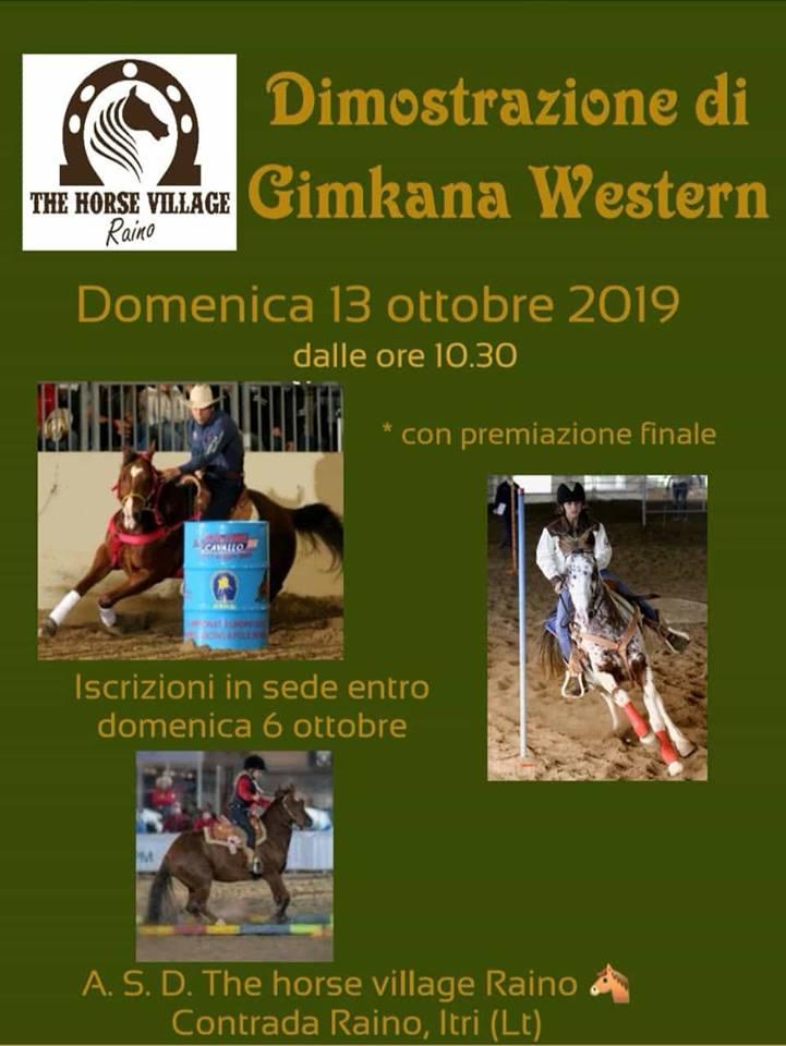 """Concorso di equitazione """"Gimkana Western"""" Domenica 13 ottobre alle 10:30 presso The Horse Village aItri"""