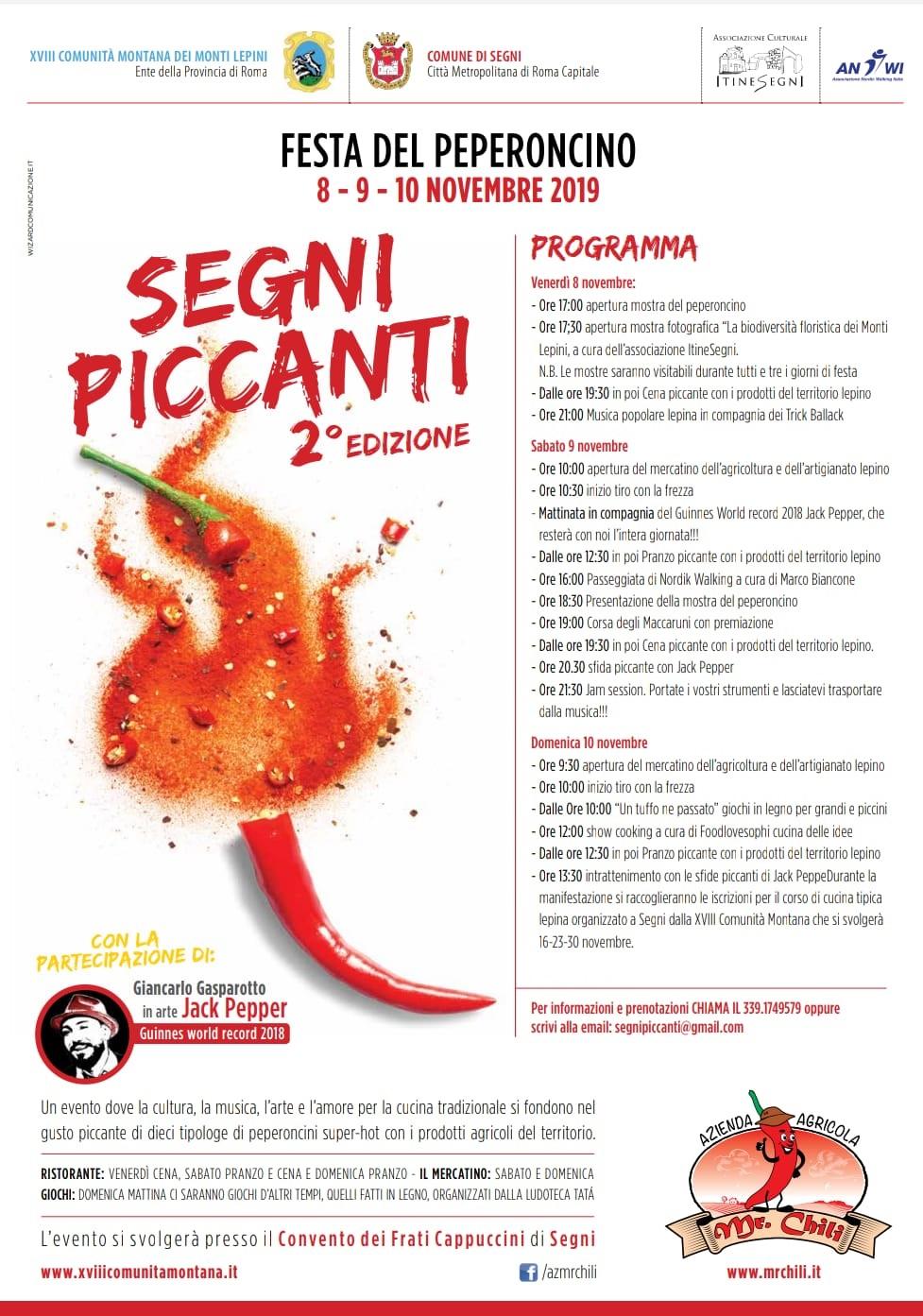 SEGNI PICCANTI 2° EDIZIONE, Festa del peperoncino 8-9-10Novembre