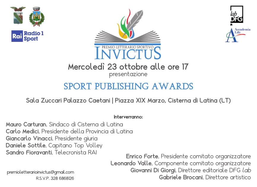 """Invito alla presentazione della prima edizione del Premio nazionale letterario sportivo """"Invictus"""""""