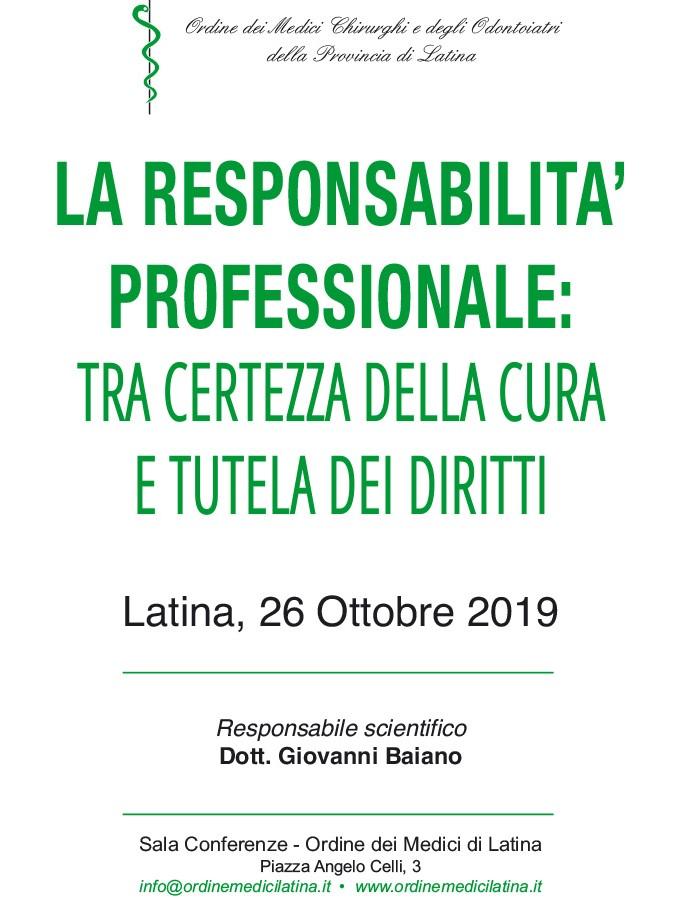 La Responsabilità Professionale: il convegno all'Ordine dei Medici diLatina