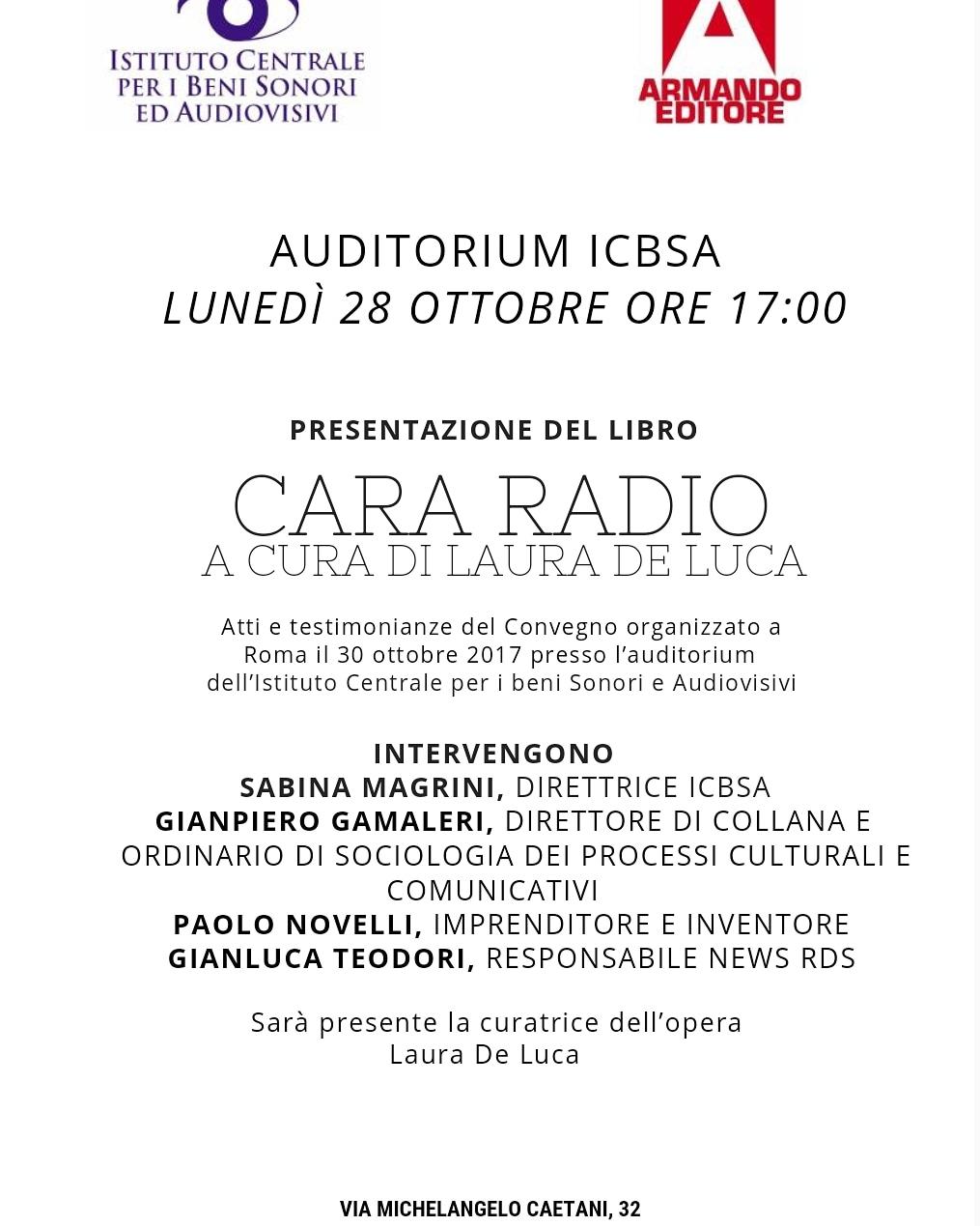 'Cara Radio', la presentazione del volume di Laura De Luca, lunedì 28 ottobre a Roma, all'ICBSA alle17.00
