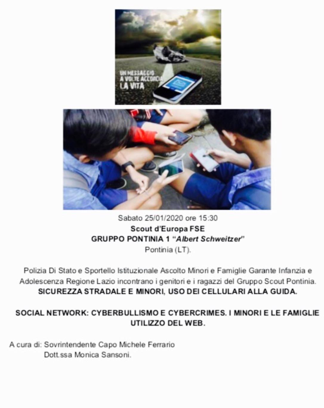 Incontri di Formazione Genitori e Figli: Polizia Stradale e Sportello Istituzionale Ascolto Minori e Famiglie Garante Infanzia e Adolescenza RegioneLazio.