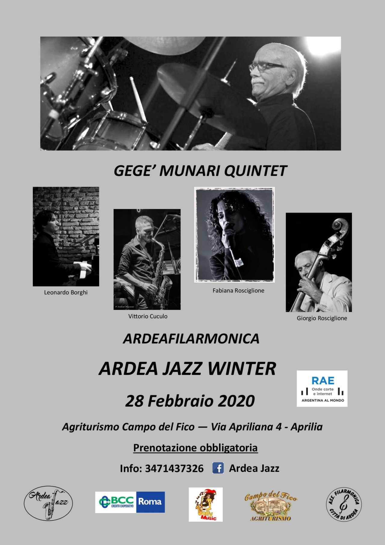 Ardeajazz Winter4ª ed. Special GuestGegè MunariQuintet