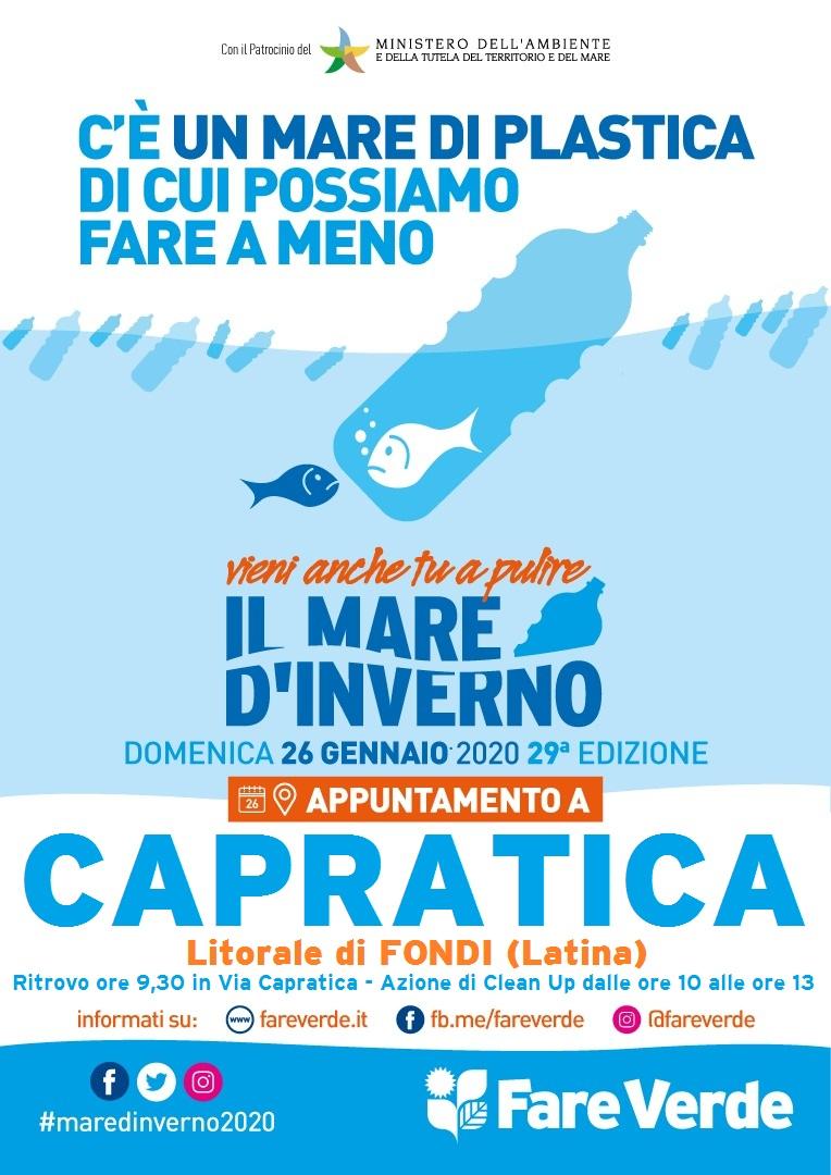 """""""Il Mare d'Inverno"""" a Fondi, Domenica 26 Gennaio tutti a Capratica con """"FareVerde"""""""