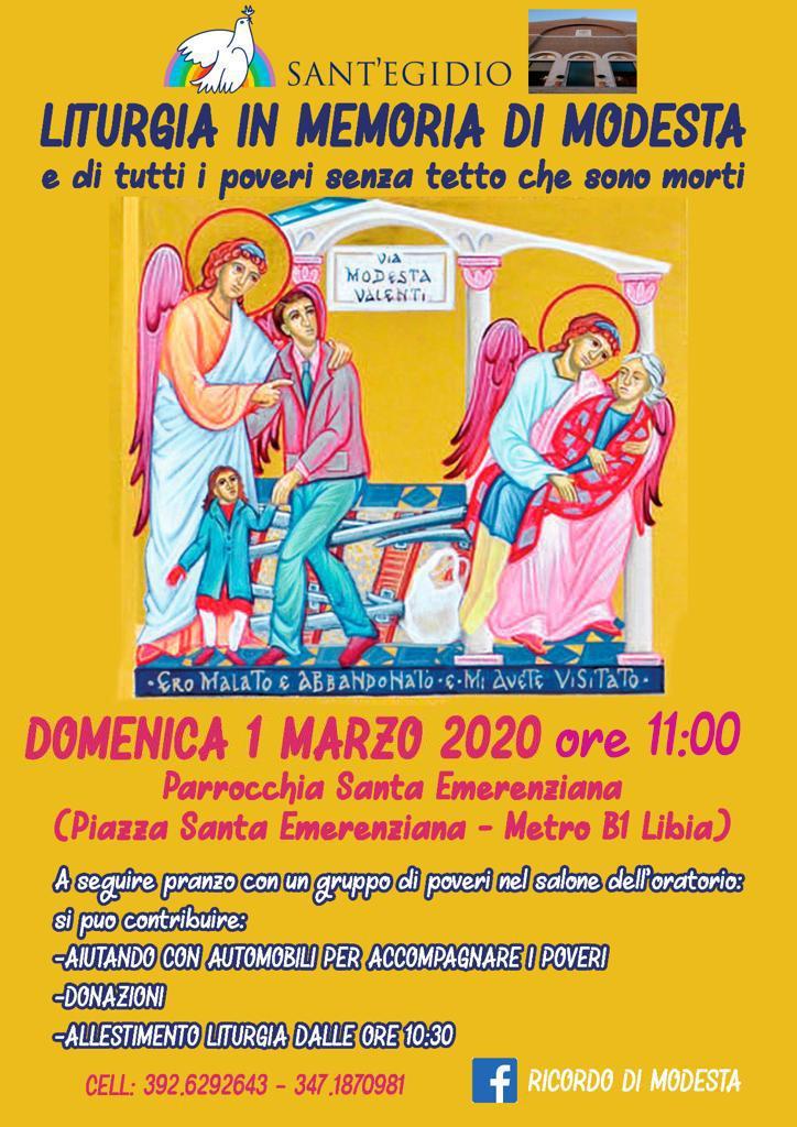 Liturgia in memoria di Modesta e di tutti i poveri senza tetto che sono morti, domenica 1 marzo aRoma