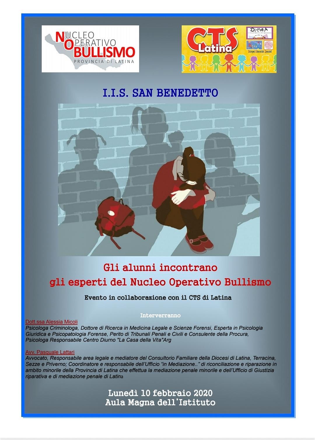I. I. S. San Benedetto di Latina, 10 febbraio giornata di formazione e  prevenzione su temi di bullismo ecyberbullismo,