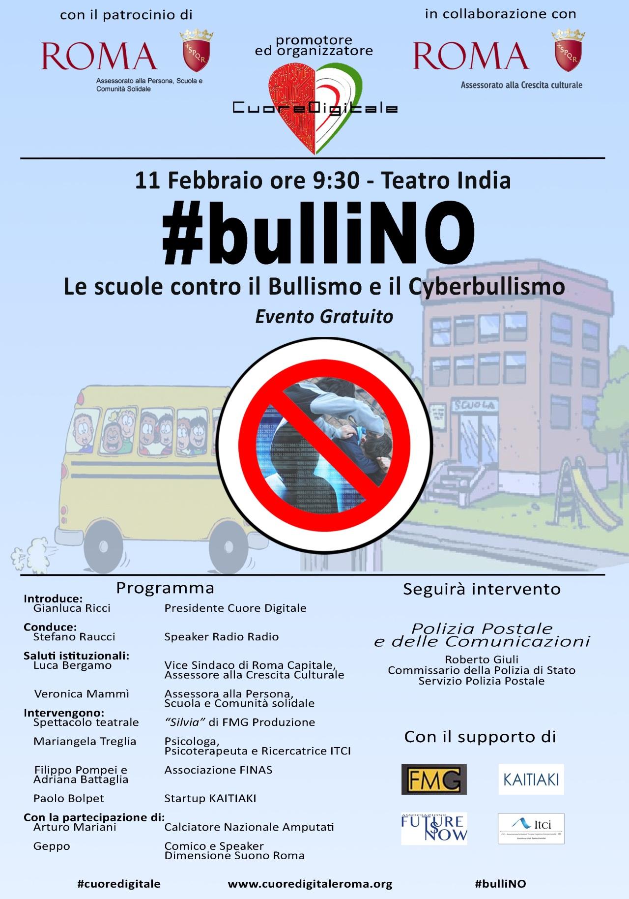 Locandina #bulliNO 11 febbraio 2020 (Cuore Digitale)