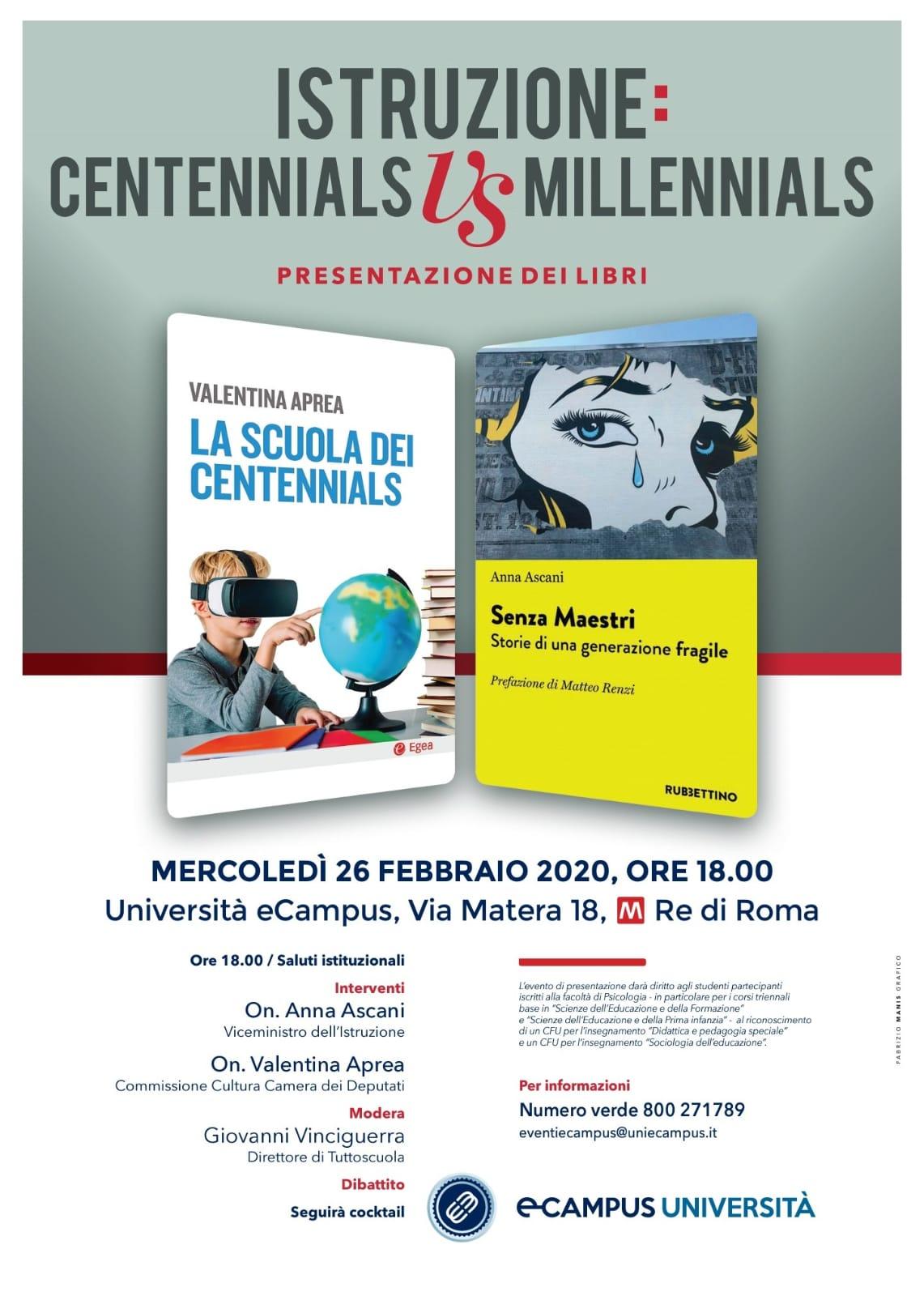 Scuola e dintorni. A Roma, all'Università eCampus, l'incontro 'Centennials Vs Millennials' con Aprea, Ascani eVinciguerra
