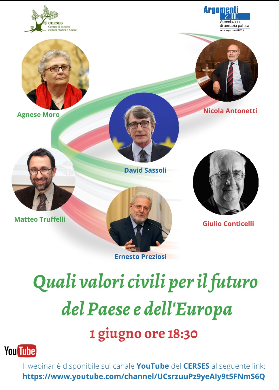 Quali valori civili per il futuro del Paese e dell'Europa, lunedì 1 giugno ore18.30