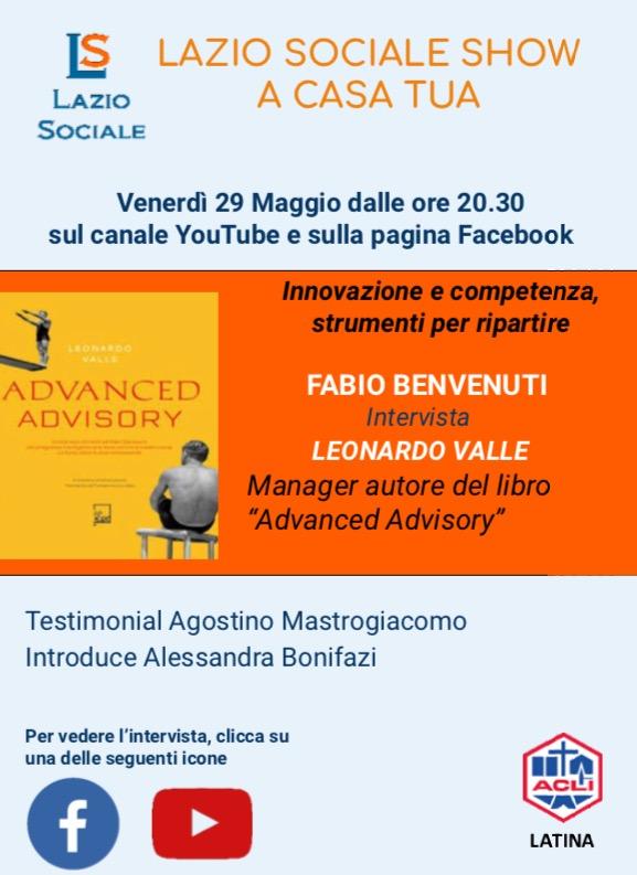 Lazio Sociale Show..a Casa Tua! Questa sera 29 maggio 2020: Innovazione e Competenza, strumenti perripartire