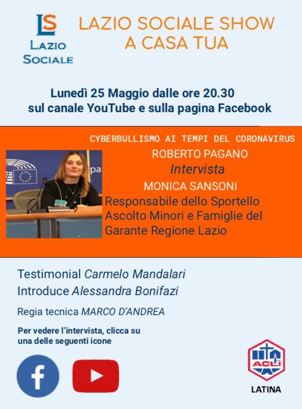 Lazio Sociale Show..a Casa Tua! Questa sera 25 maggio ore 20.30, Cyberbullismo  ai tempi delcoronavirus