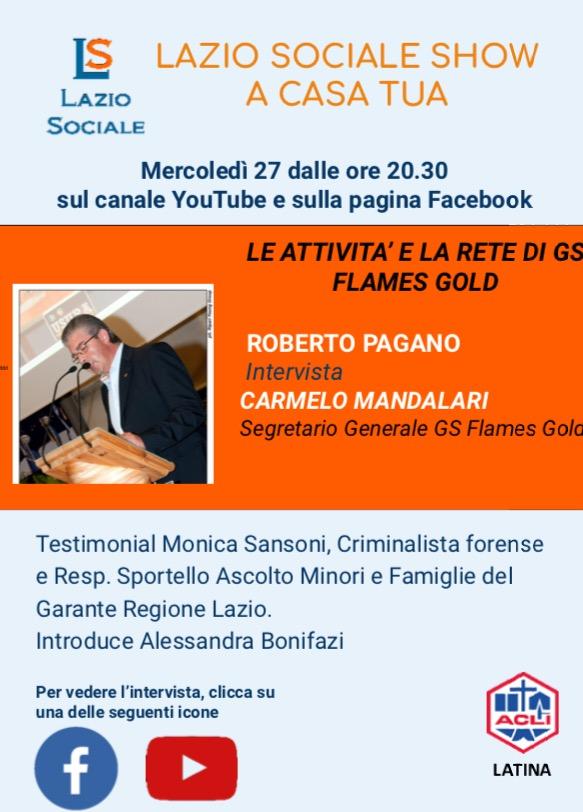 Lazio Sociale Show..a Casa tua! Questa sera 27 maggio dalle 20.30, GS FlamesGold